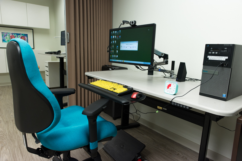 Ergonomic chair in front of a computer