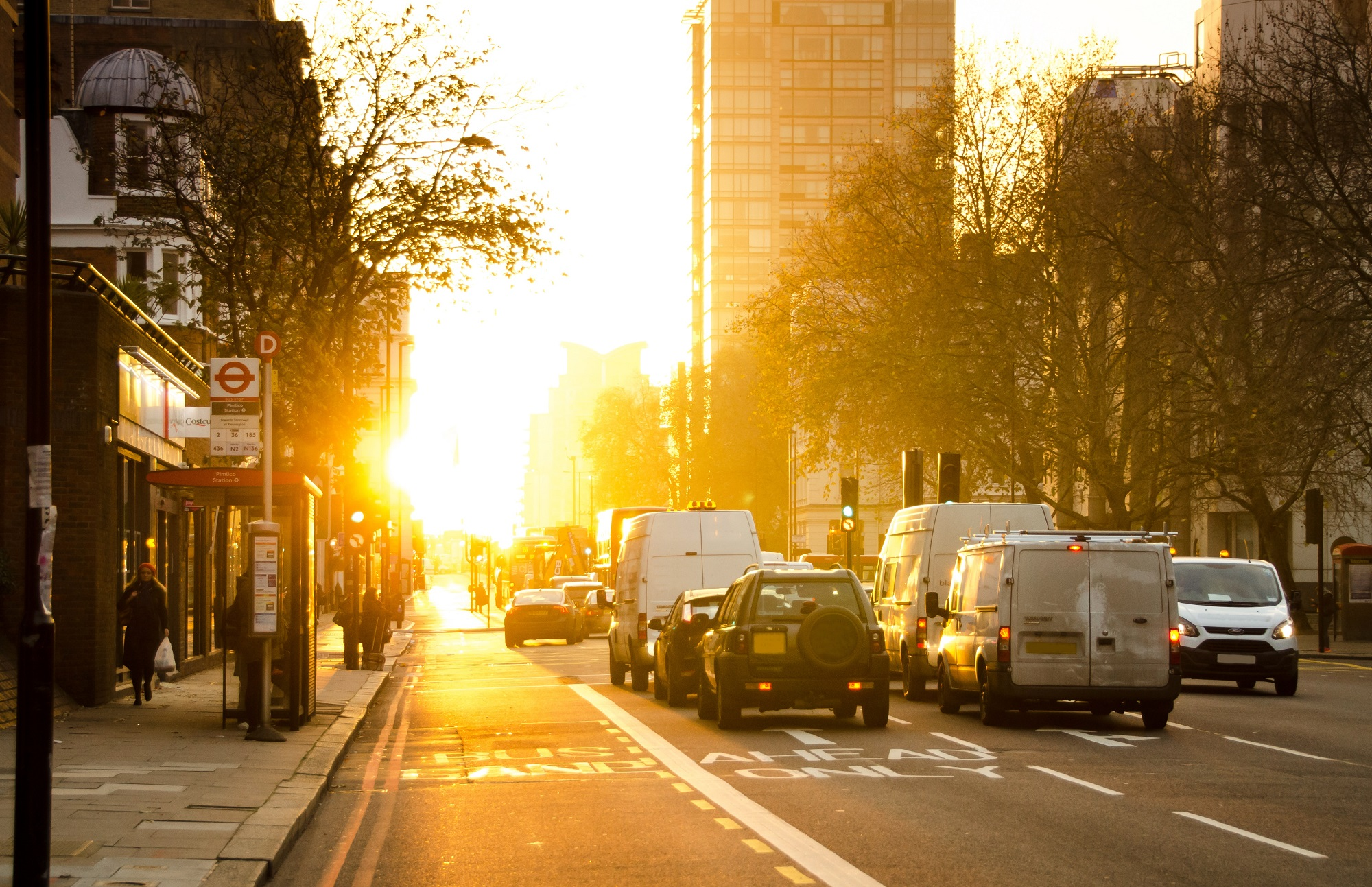 cars driving in a city with morning sun