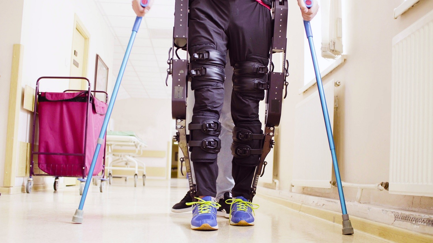 Person trying out the ReWalk exoskeleton