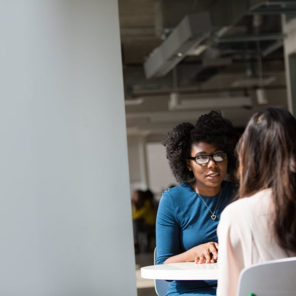 Stock image of two women in meeting