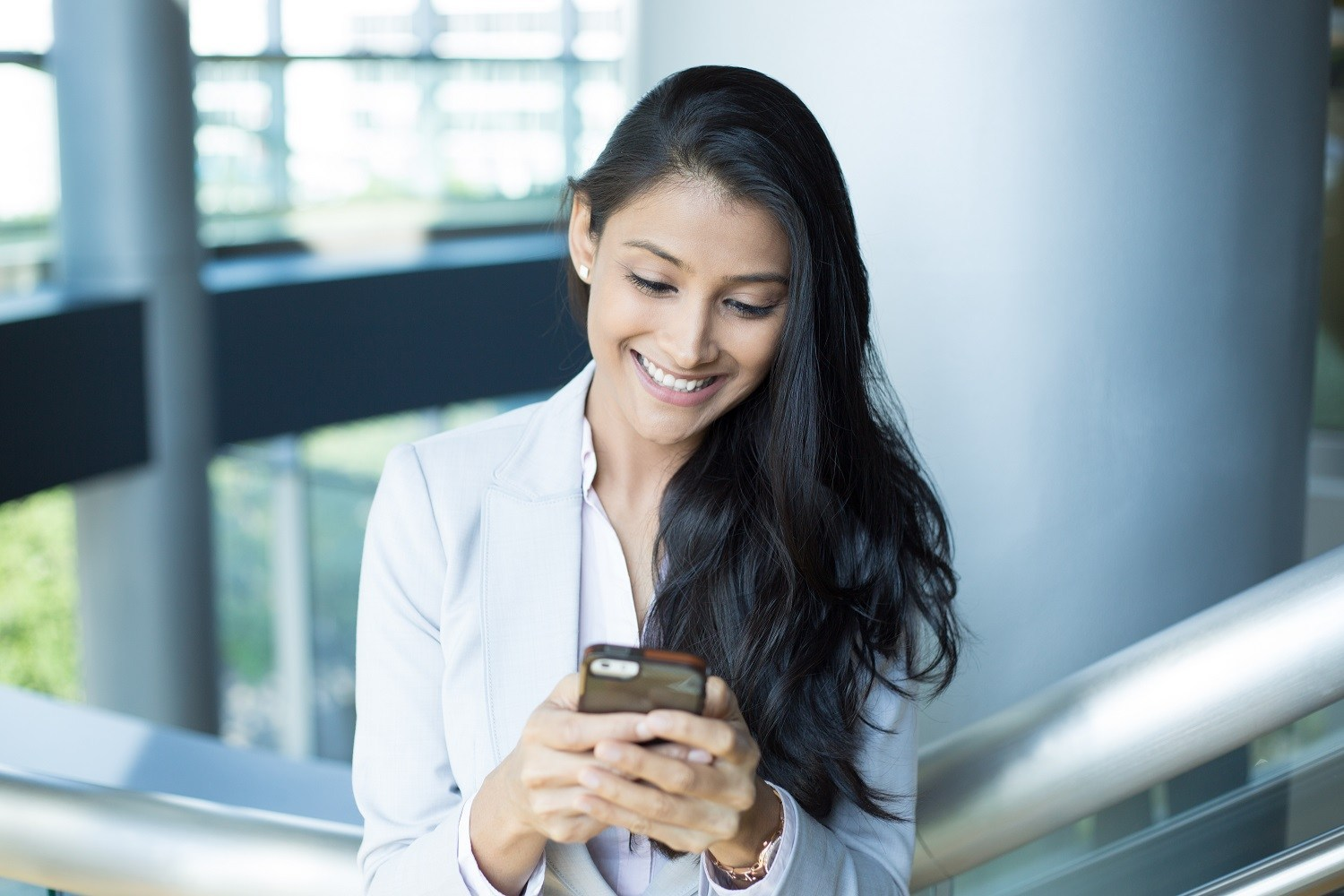 a woman using a smartphone