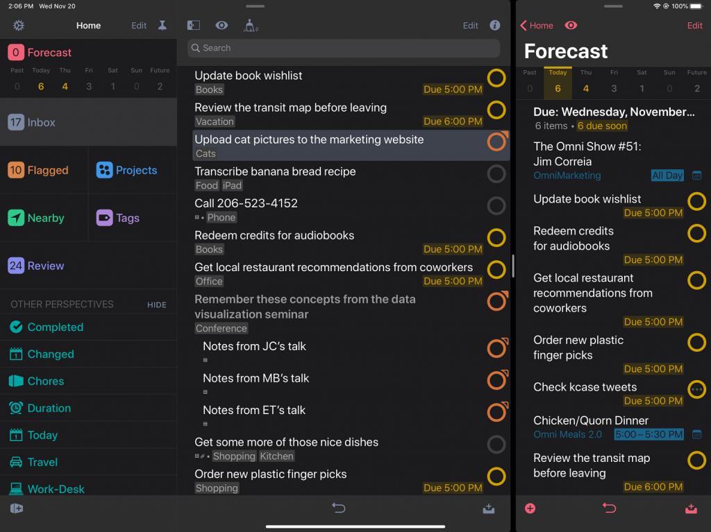 Screenshot of Omnifocus app