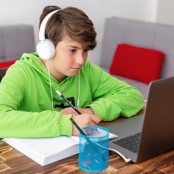 child using a laptop, hearing headphones